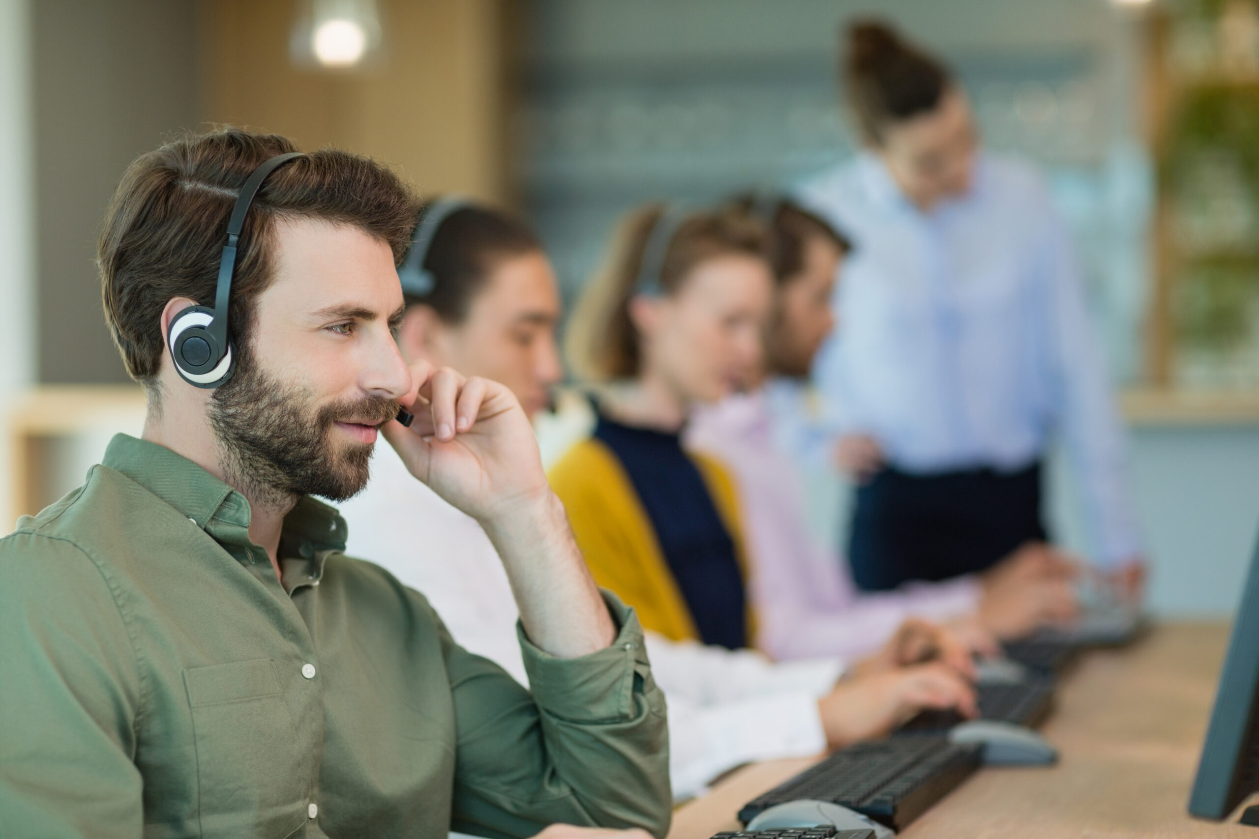 Call centre agents on phone
